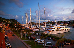Main quay in downtown Gustavia on St Barthelemy (St. Barth's), a popular spot for mega yachts. Caribbean, April, 2004.  -  Onne van der Wal