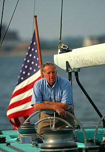 Ted Hood at the helm of his former America's Cup challenger 'Courageous', which he skippered to victory in the 1974 Americas Cup.  -  Onne van der Wal