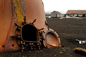 Oil tanks from an old whaling station, Deception Island, Antarctica.  -  Enrique Lopez-Tapia