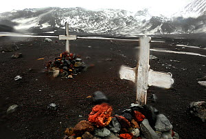 Graveyard with rubble covered graves, old whaling station. Deception Island, Antarctica. - Enrique Lopez-Tapia