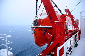 Lifeboat on the Antarctic cruise liner 'MV Ushuaia' Antarctica  -  Enrique Lopez-Tapia