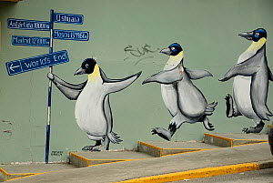 Drawings of penguins on a mural in downtown Ushuaia, Tierra del Fuego, Argentina.  -  Enrique Lopez-Tapia