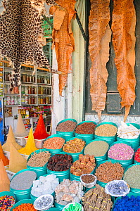 Animal skins, food and spices sold in Marrakesh Market, Morocco.  -  Visuals Unlimited