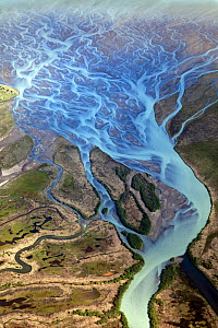 Aerial view of a braided and meandering river system, Alaska, USA - Visuals Unlimited
