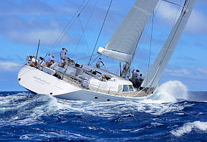 'Unfurled' competing in Antigua Superyacht Challenge 2013, heeling in choppy waters. All non-editorial uses must be cleared individually.  -  Rick  Tomlinson