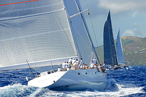 'Unfurled' competing in Antigua Superyacht Challenge 2013, viewed from onboard Timoneer. All non-editorial uses must be cleared individually.  -  Rick  Tomlinson