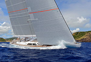 'Unfurled' competing in the Antigua Superyacht Challenge 2013. All non-editorial uses must be cleared individually.  -  Rick  Tomlinson