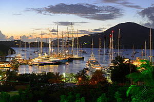Falmouth Harbour, Antigua at night during Superyacht Challenge 2013. All non-editorial uses must be cleared individually.  -  Rick  Tomlinson