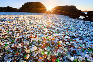 Glass beach at sunset - a former dump site, in which the glass has now become pebbles of sea glass.  MacKerricher State Park. California. USA. January 2013  -  Floris van Breugel