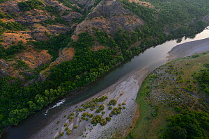 Aerial view over the Arda river canyon, Madzharovo, Eastern Rhodope Mountains, Bulgaria, May 2013.  -  Wild  Wonders of Europe / Widstr