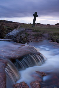 Twilight at Windy Post stone cross in Dartmoor National Park, Devon, England. April 2012. - Adam  Burton