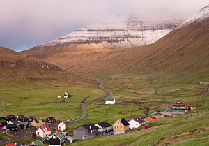 Village of Gjogv on the island of Eysturoy, Faroe Islands. June 2012.  -  Adam  Burton