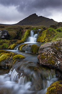 Rocky stream with waterfalls below Slaettaratindur mountain, Eysturoy, Faroe Islands, Europe. June 2012.  -  Adam  Burton