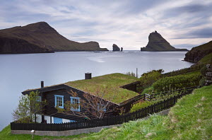 Traditional grass roofed house in the village of Bour, with views to Tindholmur, Vagar, Faroe Islands. June 2012.  -  Adam  Burton