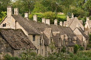 Picturesque cottages at Arlington Row in the Cotswolds village of Bibury, Gloucestershire, England. Summer (September) 2012.  -  Adam  Burton