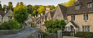 Picturesque cottages in the beautiful Cotswolds village of Castle Combe, Wiltshire, England. September 2012.  -  Adam  Burton