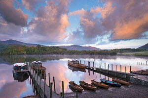Boats on Derwent Water at sunrise, Keswick, Lake District National Park, Cumbria, England. October 2012.  -  Adam  Burton