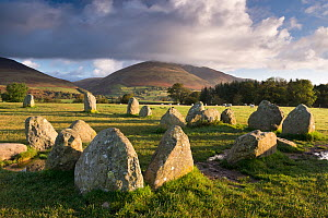 Castlerigg Stone Circle with Blencathra mountain behind, Lake District National Park, Cumbria, England. October 2012.  -  Adam Burton