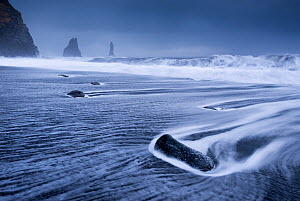 Waves rushing over black sand beach near Vik on the South coast of Iceland. January 2013.  -  Adam  Burton