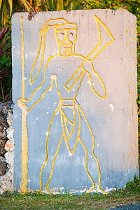 Carving of warrior in concrete, Lifou, Loyalty Islands Province, New Caledonia - Roland  Seitre