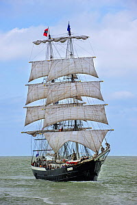 Dutch two-master sailing ship Mercedes during the maritime festival Oostende voor Anker / Ostend at Anchor 2013, Belgium. 25th May 2013. - Philippe Clement