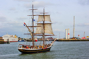 Dutch two-master sailing ship Morgenster during the maritime festival Oostende voor Anker / Ostend at Anchor 2013, Belgium, 25th May 2013. - Philippe Clement