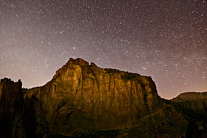 Starry night sky over Smith Rocks State Park, Oregon, May 2013. - Kirkendall-Spring