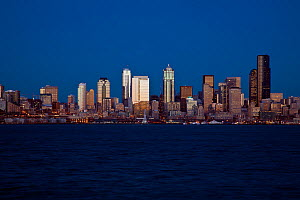 Seattle city skyline as seen from West Seattle, Washington, USA. February 2013. - Kirkendall-Spring