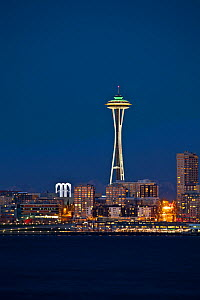 The Space Needle in the Seattle CXenter as seen from West Seattle, Washington, USA. February 2013. - Kirkendall-Spring