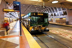 Pioneer Square Station for bus and Sound Transit trains in Seattle, Washington, USA. February 2013. - Kirkendall-Spring