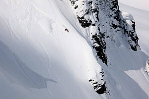 Snowboarder descending Table Mountain in the Heather Meadows Recreation Area, Washington, USA. March 2013.  -  Kirkendall-Spring