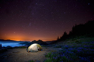 Camp site at night above Appleton Pass in Olympic National Park, Washington, USA, August 2013. - Kirkendall-Spring