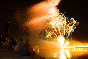 Firework in Arles over the Rhone, Camargue, France, July 2012.  -  Jean E. Roche