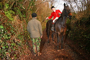 South Herefordshire Huntsman confronting a Hunt Saboteur, Herefordshire, UK - Tom  Gilks
