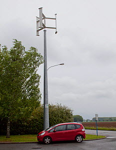Vertical axis wind turbine charging an electric car, France, May 2013. - Pascal  Tordeux