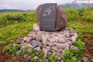 Memorial to photographer Moshino Hochino who was killed by a Kamchatka brown bear (Ursus arctos beringianus) Kamchatka, Far East Russia.  -  Sergey  Gorshkov