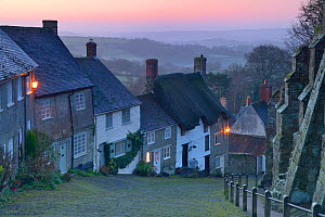 Gold Hill, Shaftesbury at dawn, Blackmore Vale, Dorset, England, UK, January. - Peter  Lewis