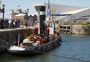 Historic steam tug, 'Kerne', moored in Canning dock, Liverpool, during the 70th Commemoration of the Battle of the Atlantic. Liverpool, Merseyside, England, UK, May 2013. All non-editorial uses must b... - Norma  Brazendale