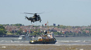 Royal Navy demonstration exercise performed in front of spectator crowds at Albert Dock, with historic tug 'Brocklebank' Liverpool, Merseyside, England UK, May 2013. All non-editorial uses must be cle... - Norma  Brazendale