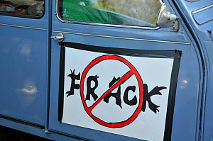 Anti-fracking protest, sign on vehicle, Balcombe, West Sussex, England. 19th August 2013.  -  Adrian Davies