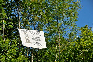 Anti-fracking protest, sign in tree, Balcombe, West Sussex, England. 19th August 2013.  -  Adrian Davies