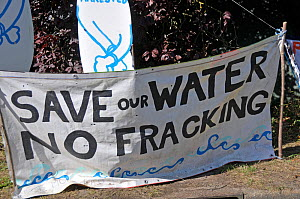 Anti-fracking protest - Save our Water No Fracking sign, Balcombe, West Sussex, England. 19th August 2013.  -  Adrian Davies