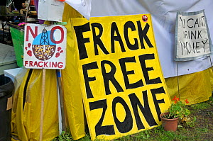 Anti-fracking protest signs, Balcombe, West Sussex, England. 19th August 2013.  -  Adrian Davies