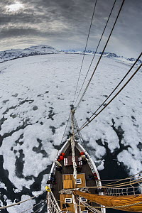 View from the top of a mast of a sailing boat in pack ice in Woodfjord, Svalbard, Norway, June, 2012.  -  Christophe Courteau