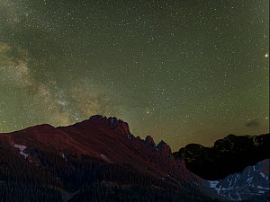 The Milky Way rises over the Craigs, a mountain in the Never Summer Range of the Rocky Mountains, Colorado, July.  -  Charlie  Summers