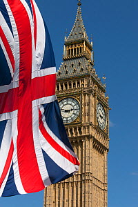 Big Ben and Union Jack Flag, Westminster, London, England, UK, June 2013.  -  Ernie  Janes