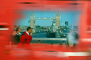Abstract photo of Tower Bridge, with blurred motion red bus, London, June 2013. Digitally manipulated.  -  Ernie  Janes
