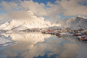 Winter clouds passing over Reine village in Lofoten, Norway, March 2013. - Peter Cairns
