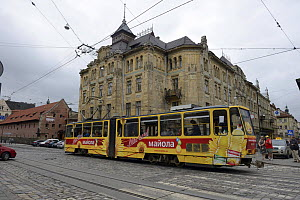 Tram and old brick arsenal building, UNESCO World Heritage Site,  Lviv, Ukraine, July 2013.  -  Will Watson