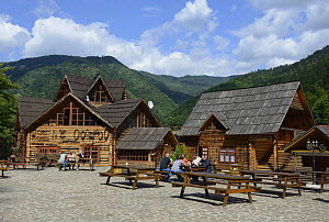 Restaurant made from local timbers at the 'Centre of Europe', Carpathian Biospere Reserve, Transcarpathia, Ukraine, July.  -  Will Watson